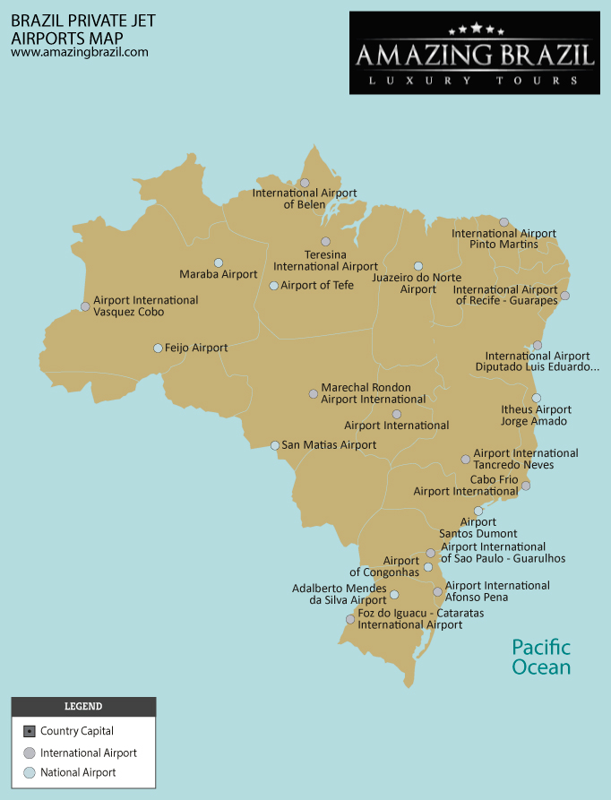 Brazil private jet heliports map
